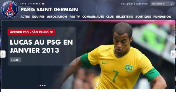 Site do Paris Saint-Germain anuncia a contratação de Lucas (Foto: Reprodução)