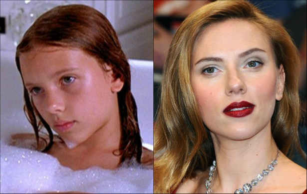 Com 11 anos, Scarlett Johansson foi uma das estrelas da tragicomédia 'Meninas de Ninguém' (1996). A estrela agora está com 29 anos. (Foto: Reprodução e Getty Images)