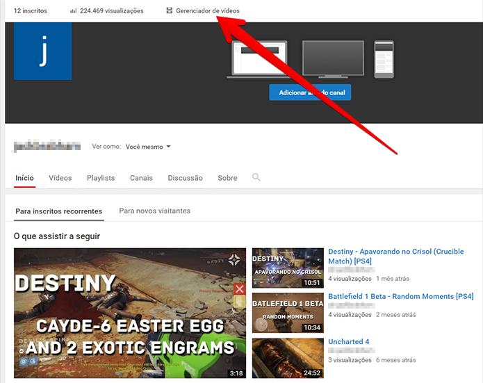 Acesse o Gerenciador de Vídeos do YouTube (Foto: Reprodução/Filipe Garrett)