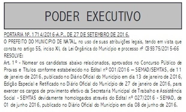 Portaria foi publicado no Diário Oficial do Município nesta sexta (30) (Foto: Reprodução)