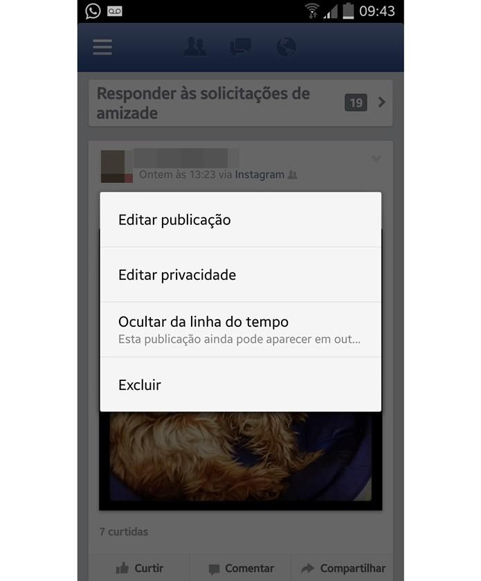 Escolher a opção de alterar quem pode ver suas fotos do Intagram no Facebook (Foto: Reprodução/Carolina Ribeiro)