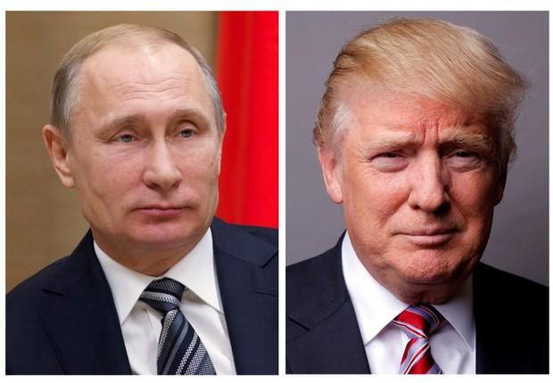 Montagem de fotos do presidente russo, Vladimir Putin, e do presidente norte-americano, Donald Trump (Foto: Ivan Sekretarev/Pool/Lucas Jackson/Reuters)