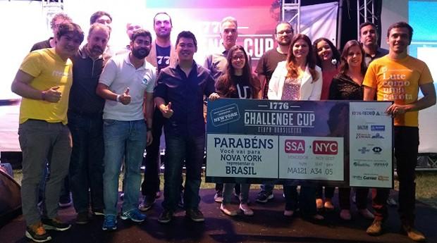 A equipe da startup Laura Networks, vencedora da etapa brasileira da 1776 Challenge Cup (Foto: Reprodução / Renata Preza)
