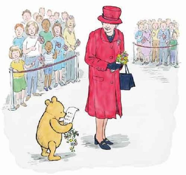 Rainha Elizabeth e Ursinho Pooh (Foto: Reprodução Disney)