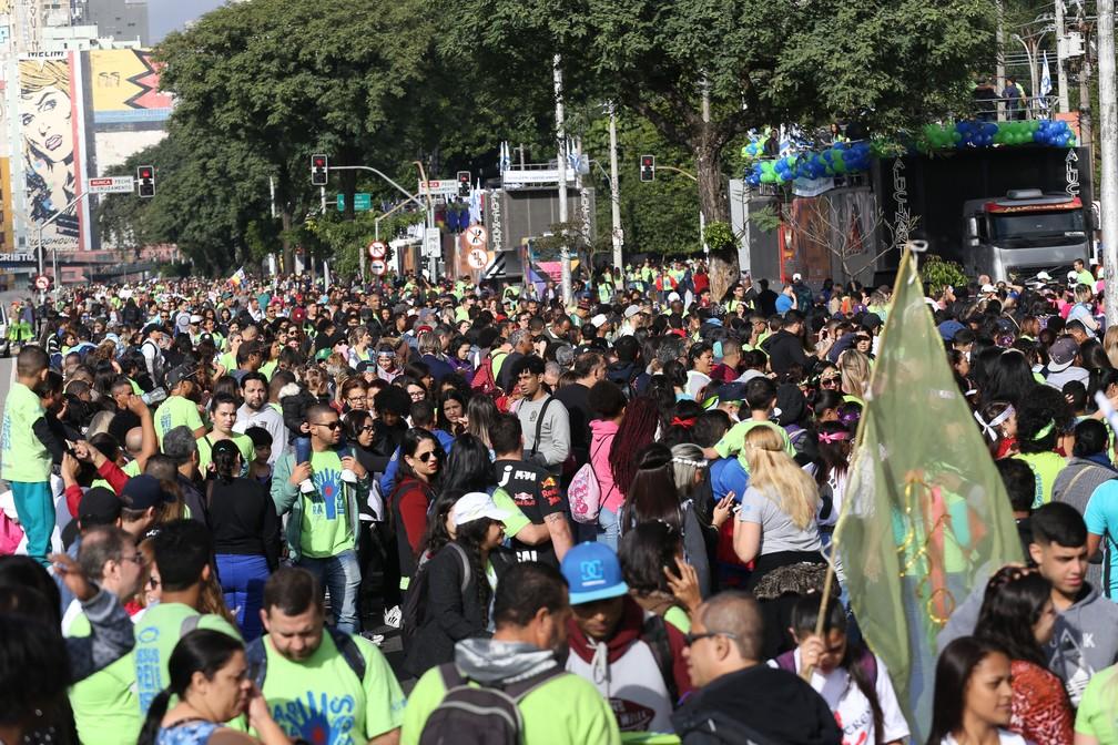 Concentração foi na região da Luz, pela manhã (Foto: NEWTON MENEZES/FUTURA PRESS/ESTADÃO CONTEÚDO)