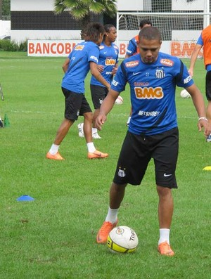 Adriano treino Santos (Foto: Marcelo Hazan /globoesporte.com)