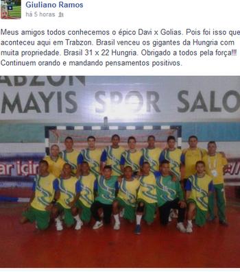 Técnico do Caic comemora terceira vitória no Mundial Escolar (Foto: Reprodução/Facebook)