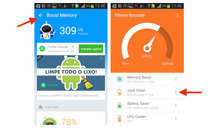 Acessando a limpeza da lixeira do Android com o aplicativo Super Booster Clean Boost (Foto: Reprodução/Marvin Costa)