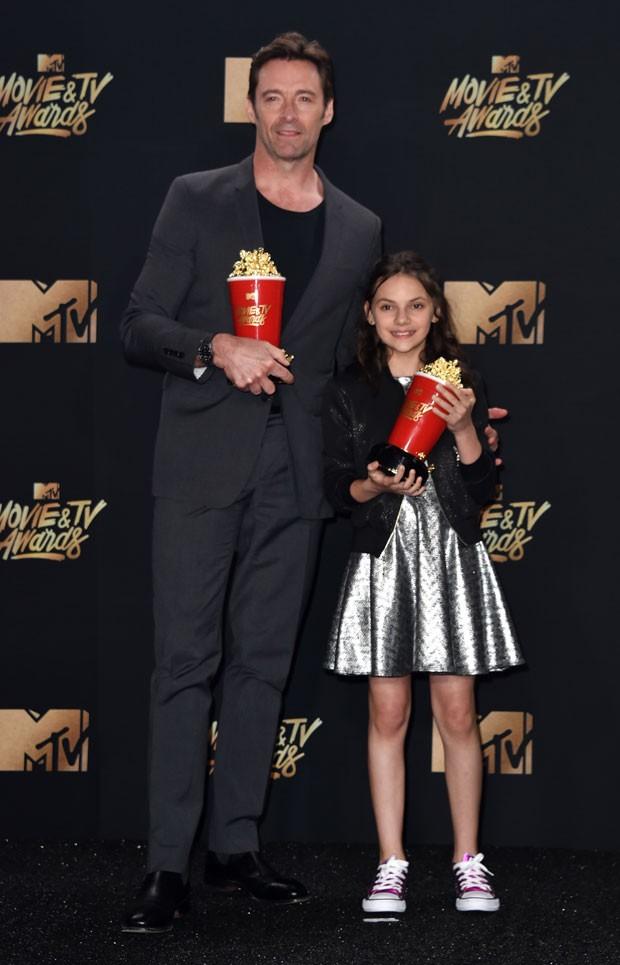 Hugh Jackman e Dafne Keen, melhor dupla por Logan (Foto: Getty Images)