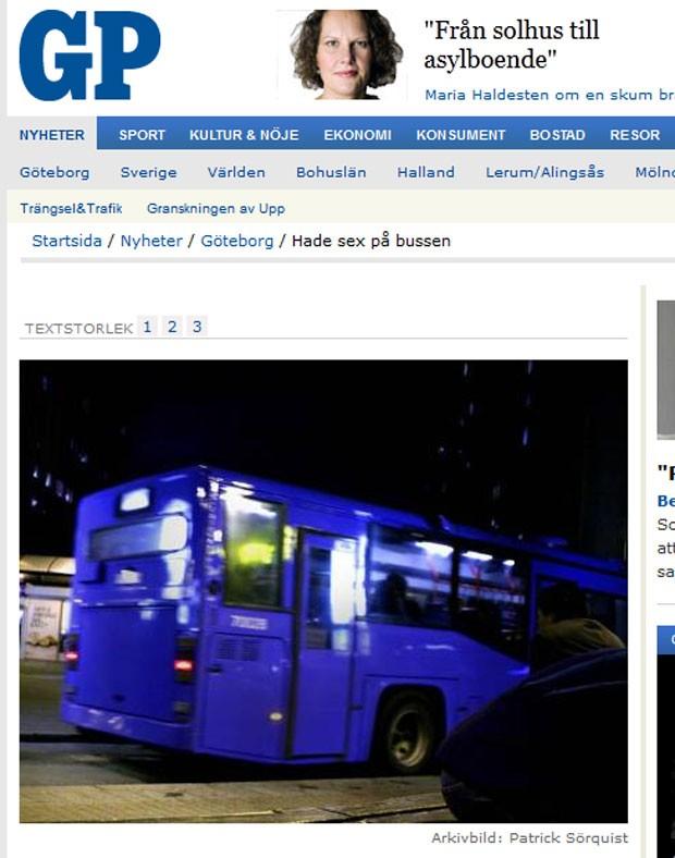 Casal foi flagrado fazendo sexo em ônibus de Gotemburgo. (Foto: Reprodução)