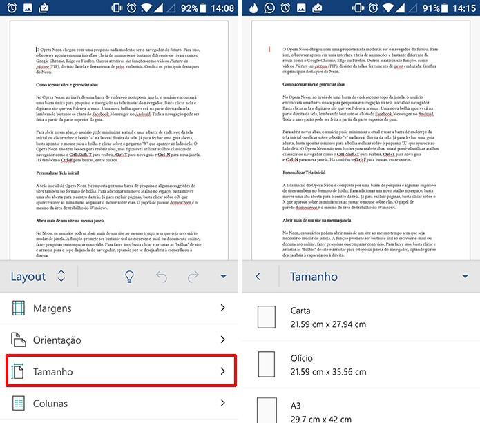 Usuário deve escolher tamanho da página com atenção no Word para Android (Foto: Reprodução/Elson de Souza)
