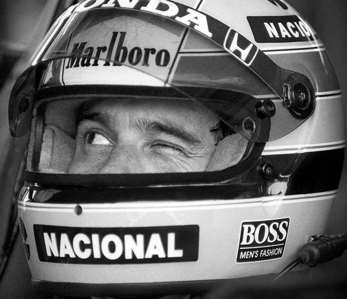 Ayrton Senna no GP Brasil da Fórmula 1, em 1989 (Foto: Evandro Teixeira)