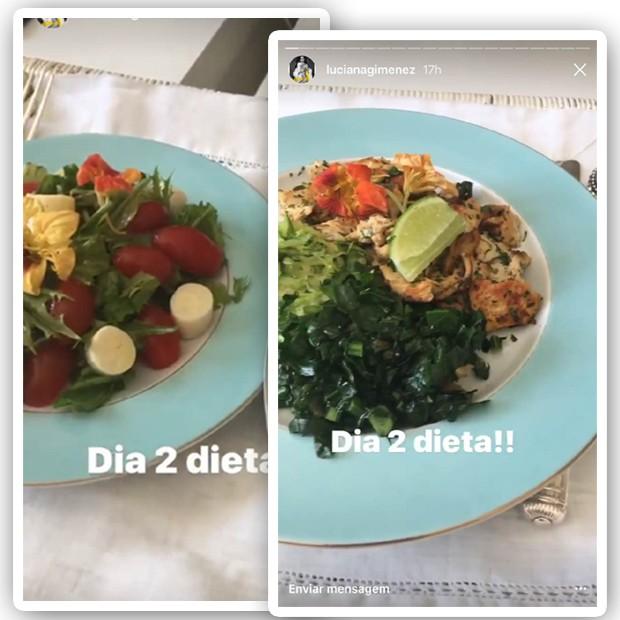 Almoço de Luciana Gimenez: muita salada e proteínas magras (Foto: Reprodução)