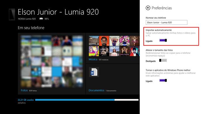 Ative sincronização automática de imagens entre Windows Phone e Windows 8 para transferir fotos (Foto: Reprodução/Elson de Souza)