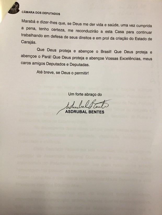 Carta de renúncia do deputado Asdrubal Bentes (página 3/final) (Foto: Reprodução)