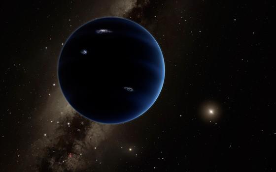 Ilustração artística imagina como seria o Planeta Nove. Astrônomos sugerem que há um novo planeta nas regiões mais distantes do Sistema Solar. Esse planeta, entretanto, nunca foi encontrado (Foto: R. Hurt/Infrared Processing and Analysis Center/Courtesy of California Institute of Technology via AP)