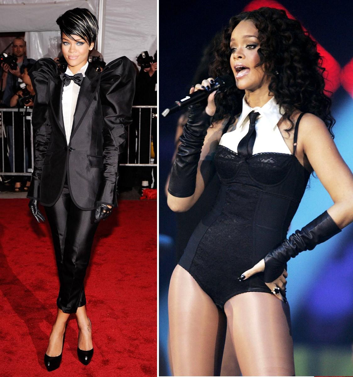 Com looks de inspiração masculina em 2006 e 2007 (Foto: Getty Images)