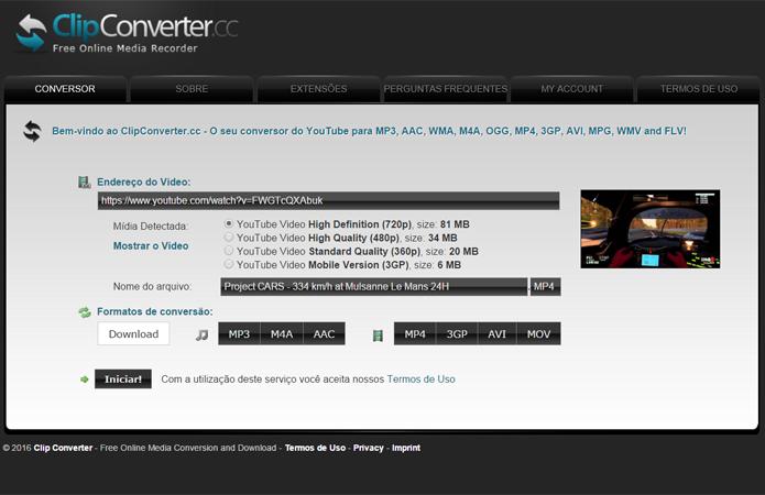ClipConverter permite escolher a resolução e qualidade do arquivo final (Foto: Reprodução/Filipe Garrett)