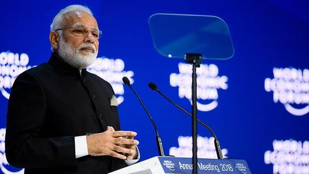 Primeiro-ministro da Índia, Narendra Modi, durante Fórum Econômico Mundial 2018 (Foto: Divulgação/World Economic Forum/Manuel Lopez)