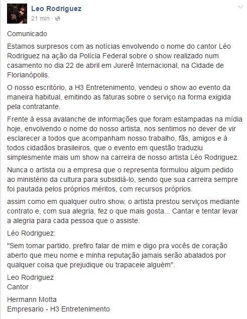 Comunicado de Leo Rodriguez na web (Foto: Reprodução/Facebook)