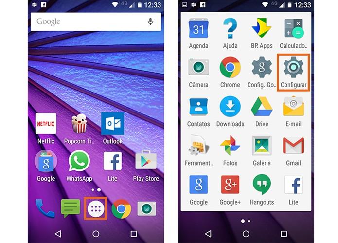 Acesse as configurações do Moto G 3 no menu Android (Foto: Reprodução/Barbara Mannara)