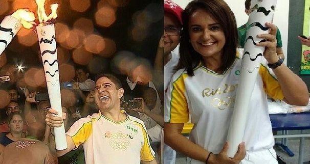 Carla Suzanne e Ricardo Marques conduziram a Tocha Olímpica em Aracaju (Foto: Arquipo Pessoal)