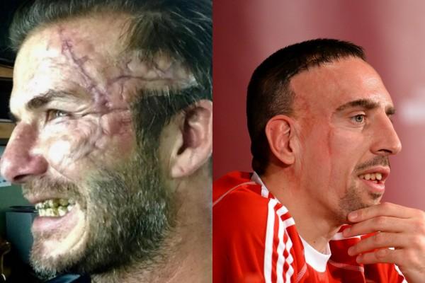 Beckham é comparado a Franck Ribéry   (Foto: Reprodução Instagram/Getty Images)