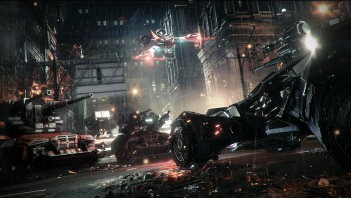 Batman: Arkham Knight terá Batmóvel com armamento pesado. (Foto: Divulgação) (Foto: Batman: Arkham Knight terá Batmóvel com armamento pesado. (Foto: Divulgação))