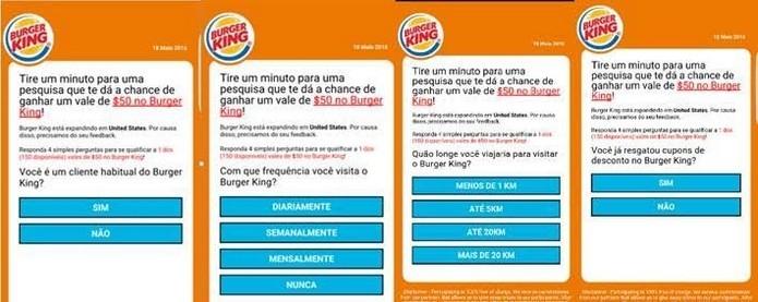 Golpe no WhatsApp usava supostos cupons de descontos do Burger King  (Foto: Divulgação/ESET)