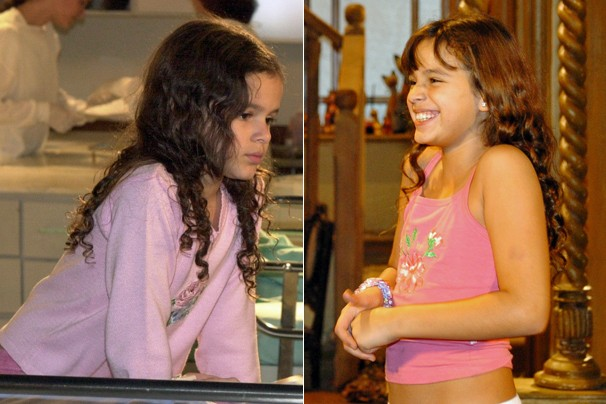 Bruna Marquezine estreou em novelas da Globo como a sofredora Salete de Mulheres Apaixonadas (2003); em América (2005), viveu a pequena Flor, uma garota cega (Foto: CEDOC Globo)