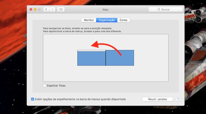 Ação para organizar os monitores conectados ao Mac OS (Foto: Reprodução/Marvin Costa)