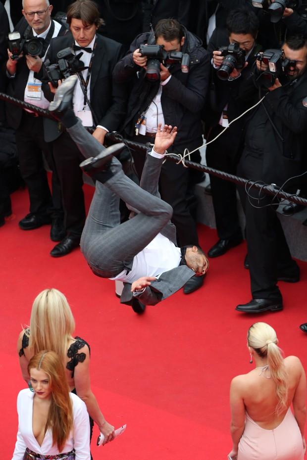 Brahim Zaibat na première de Foxcatcher, no Festival de Cannes (Foto: AFP)