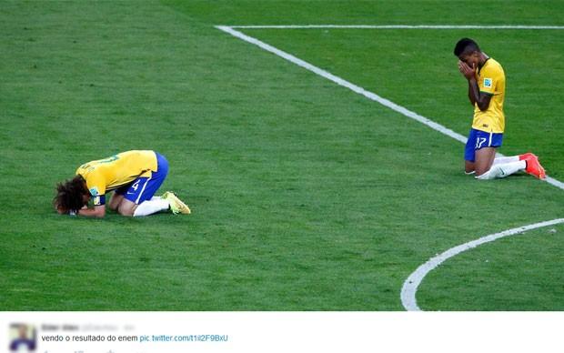 Seleção Brasileira em prantos seguiu inspirando os internautas do Enem (Foto: Reprodução/Twitter/Eder Alex)