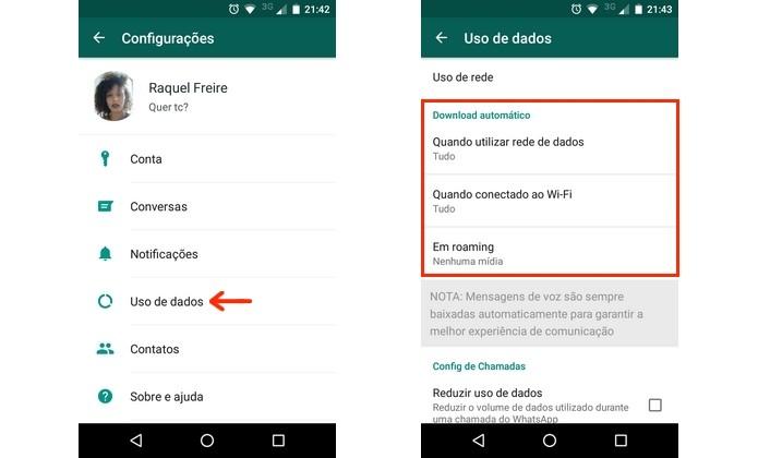 Destaque para seção de download automático de mídia no WhatsApp (Foto: Reprodução/Raquel Freire)