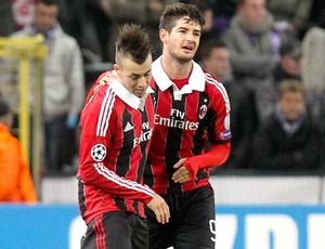 Pato comemora gol do Milan contra o Anderlecht (Foto: Agência AFP)