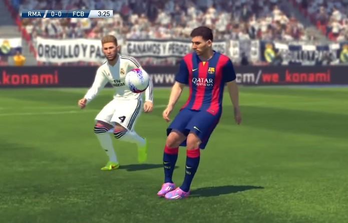 Messi dá balão com facilidade no novo PES (Foto  Reprodução YouTube) 1e001a0fa8af6