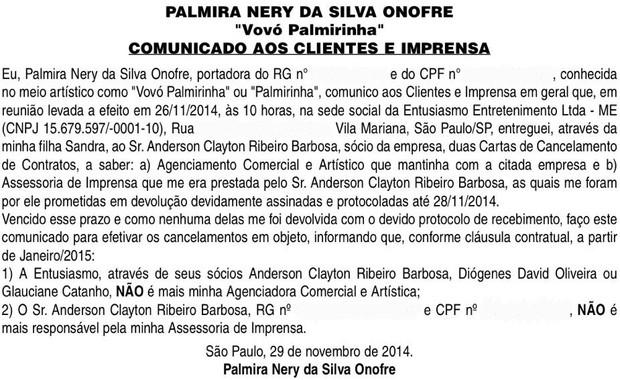 Comunicado publicado por Palmirinha nos jornais (Foto: Reprodução)