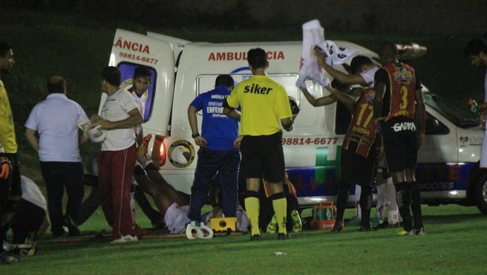 RN América-RN Flávio Boaventura pancada cabeça (Foto: Diego Simonetti/Blog do Major)