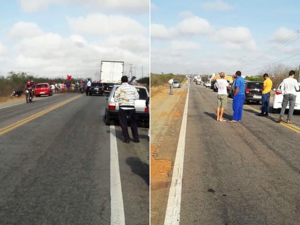 Interdição da rodovia causa congestionamento próximo da entrada da cidade de João Câmara (Foto: Divulgação)