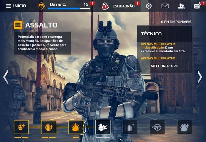 Classe assalto é a melhor para o Meta atual de Modern Combat 5 (Foto: Reprodução / Dario Coutinho)
