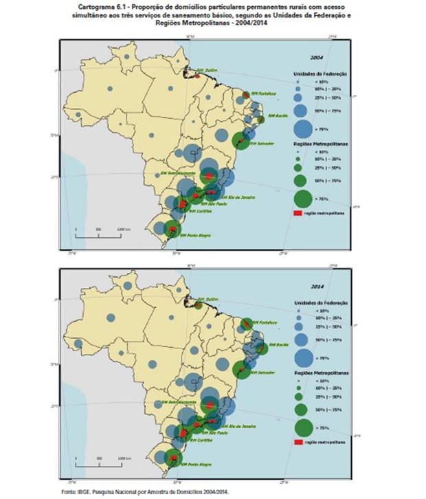 Gráfico mostra proporção de domicílios rurais com acesso a pelo menos três serviços de saneamento básico (Foto: IBGE)