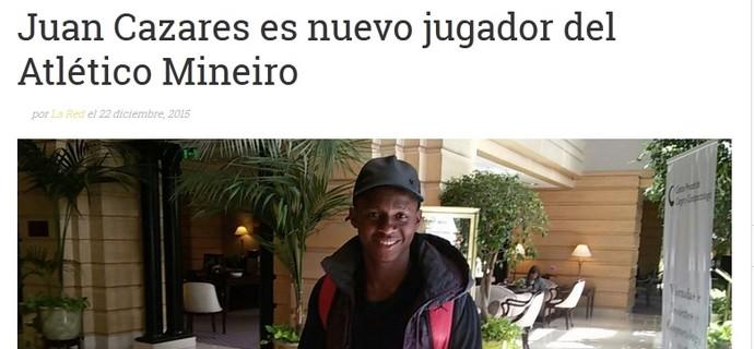 Rádio equatoriana coloca Cazares no Atlético-MG (Foto: Reprodução Internet)