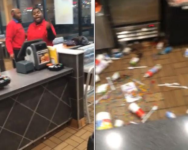 Funcionário de fast-food teve ataque de fúria ao ser demitido nos EUA (Foto: Reprodução/YouTube/Abelaj50)