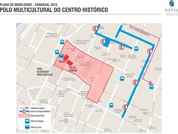 Veja áreas de bloqueio no trânsito no Centro Histórico durante o carnaval (Foto: Divulgação/STTU)