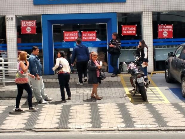 Agências da Caixa Econômica Federal seguem fechadas em Mogi das Cruzes (Foto: Everton Souza/TV Diário)