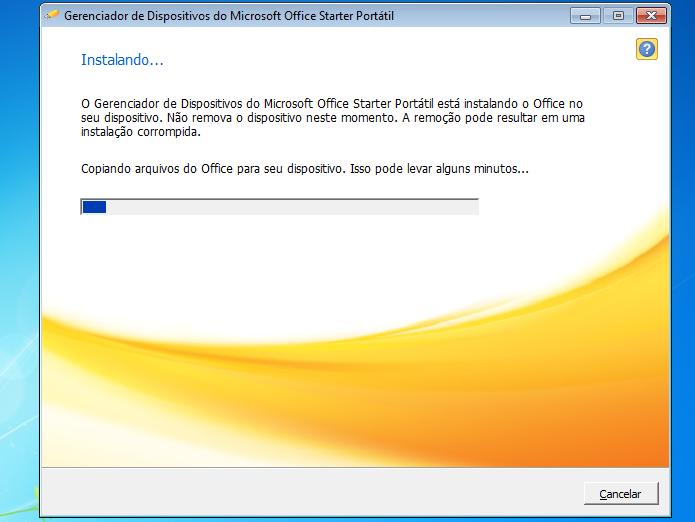 MS Office Starter Portátil sendo instalado no disco (Foto: Reprodução/Edivaldo Brito)