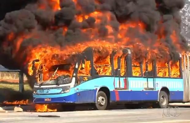 Manifestantes colocam fogo em ônibus do transporte coletivo em Goiânia, Goiás. (Foto: Reprodução/TV Anhanguera)