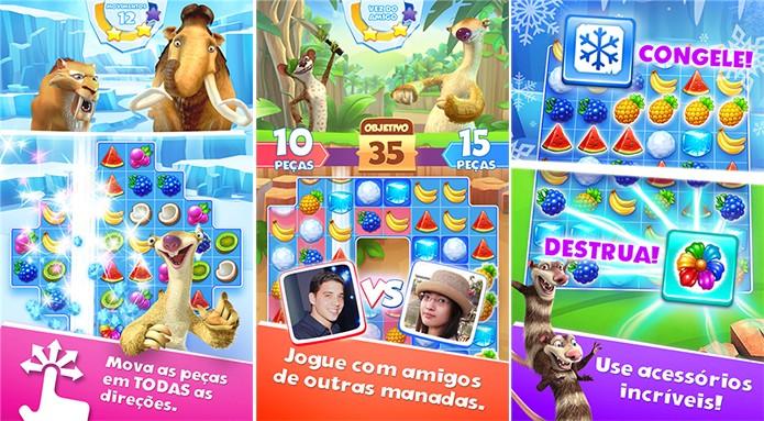 A Era do Gelo: Avalanche traz os personagens do filme em um jogo ao estilo Candy Crush (Foto: Divulgação/Windows Phone Store)