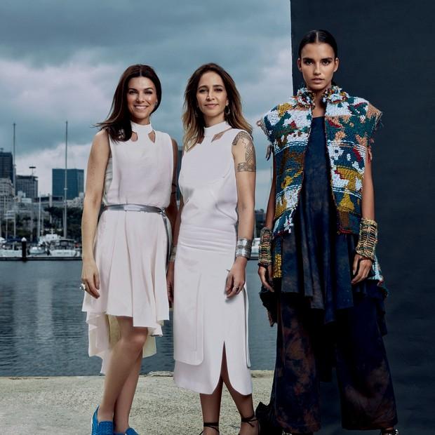 Kelly Becker, Luciane Gerodetti e modelo vestindo look do inverno 2017 da GA'U. (Foto: Divulgação e Daniel Mattar / Styling: Bebel Moraes)