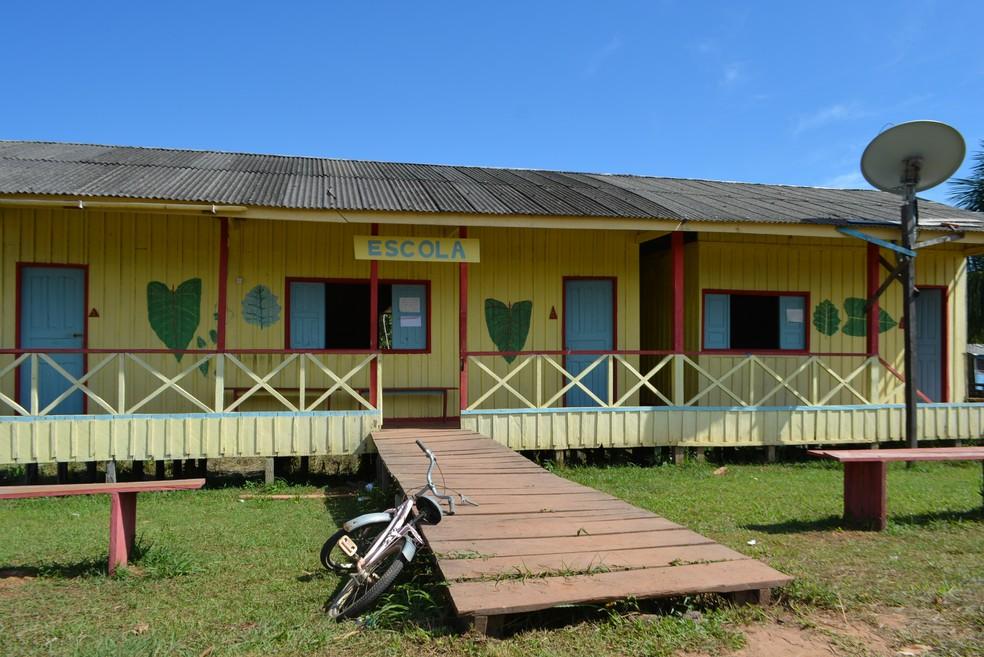 Escola Duque de Caxias, em Igapó Açu (AM) (Foto: Mary Porfiro/G1)